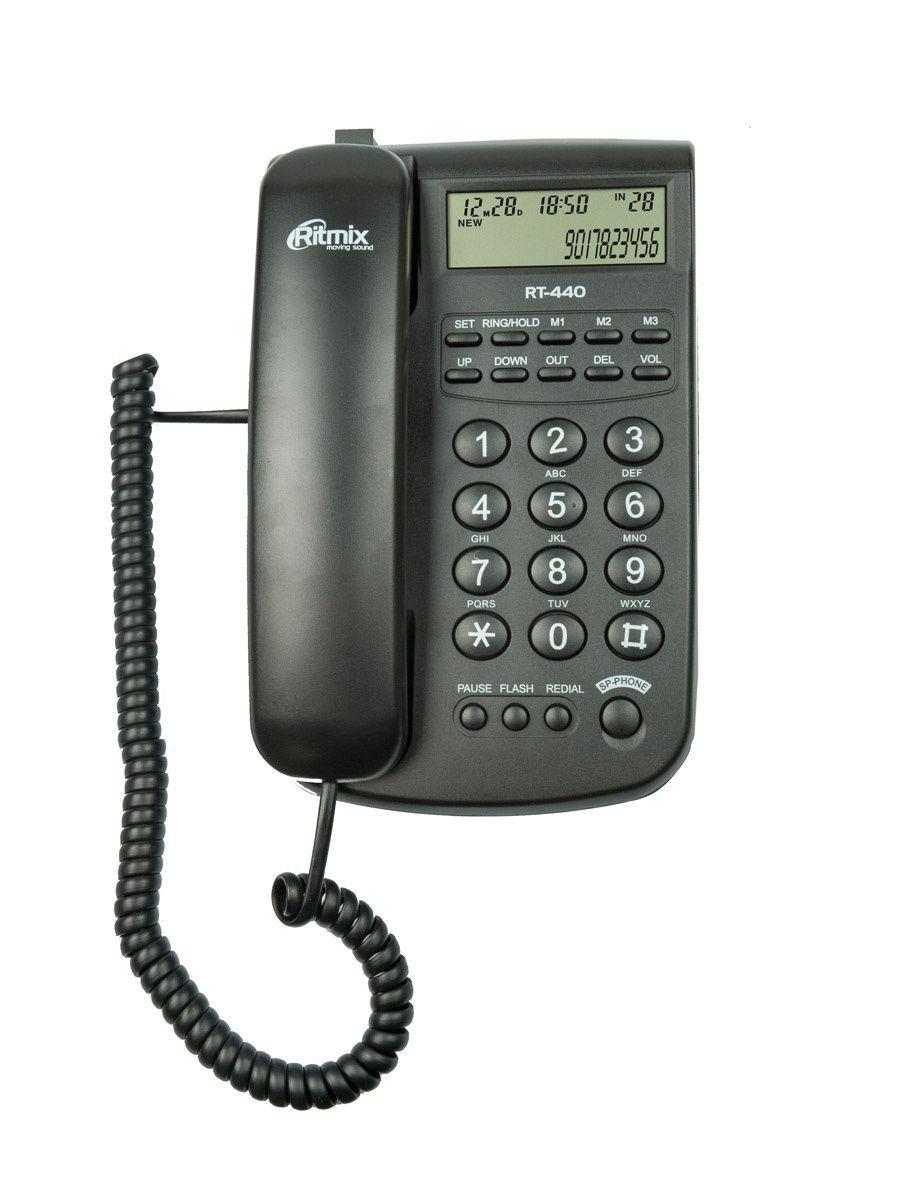 телефон ritmix rt-440, чёрный аон