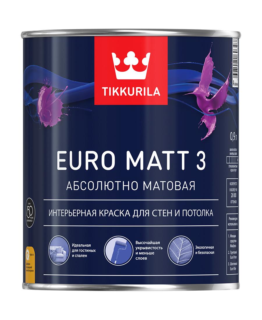 Краска Tikkurila Euro Matt 3, Глубокоматовое покрытие, 0.9 л, белый