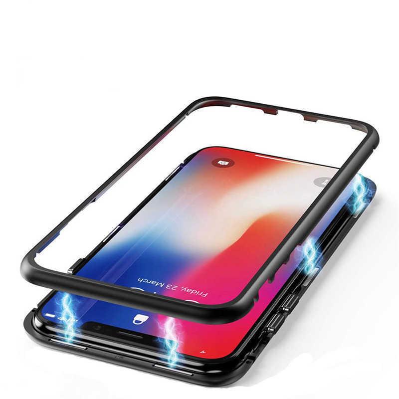 Чехол-бампер для Xiaomi Mi Poco X3 NFC металлический со стеклом, магнитный, противоударный, черный