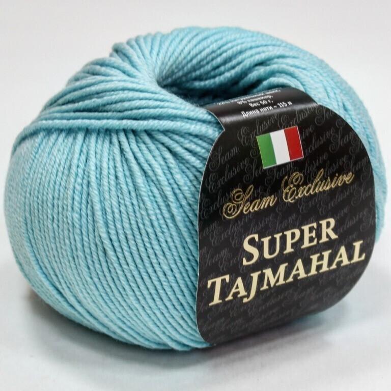 Пряжа Super Tajmahal цвет 08 тиффани, 2шт*(115м/50г), 70% мериносовая шерсть экстрафайн 22% шелк 8% кашемир