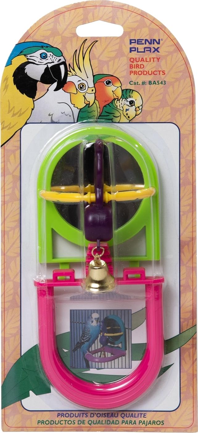 penn-plax зеркало с птичкой и колокольчиком 7,8 см х 8 см х 9 см игрушка для птиц 1х12