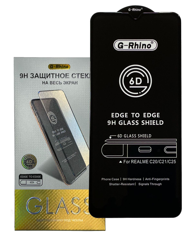 """Защитное стекло OG G-Rhino для Realme C21 / 6.5"""" / Premium HD Glass (закругленные края, полная проклейка, черная рамка)"""