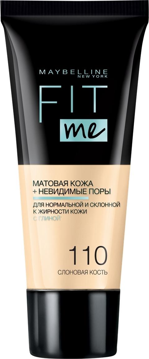 """Maybelline New York Тональный крем для лица """"Fit Me"""", матирующий, скрывающий поры, Оттенок 110, Слоновая #1"""