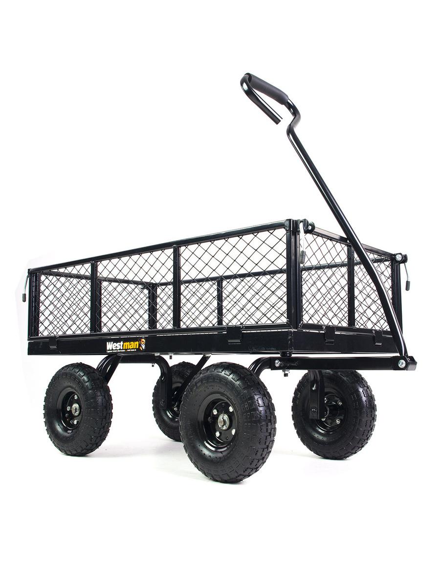 Тележка садовая на 4 колесах Westman 350 железная с откидными бортами, модель 2020 года  #1