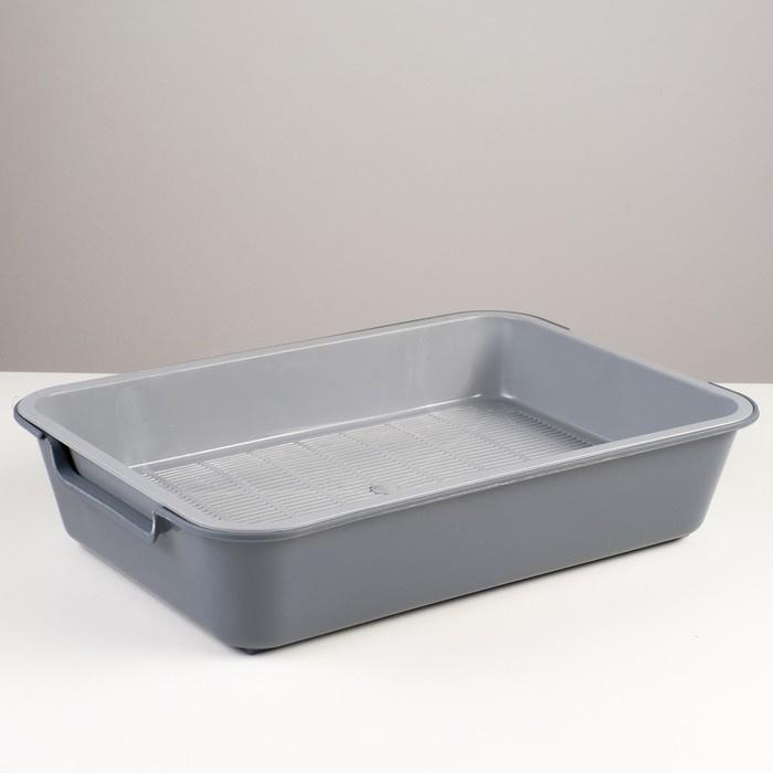 "Туалет ( лоток ) с сеткой ""Белла"" для кошек, 37 х 27 х 8 см, серый, Rafecoff  #1"