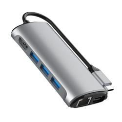 """Адаптер-переходник """"8 в 1"""" VCOM USB 3.1 Type-C (M) - HDMI 2.0 (F) 4K@60Hz/ RJ-45 (F) Ethernet/ 3хUSB 3.0 (F)/ PD 3.0 (F) зарядка/ SD и TF карты памяти, в т.ч. для Macbook, 0.15м, серый металлик (CU463). Прямые поставки из Китая"""