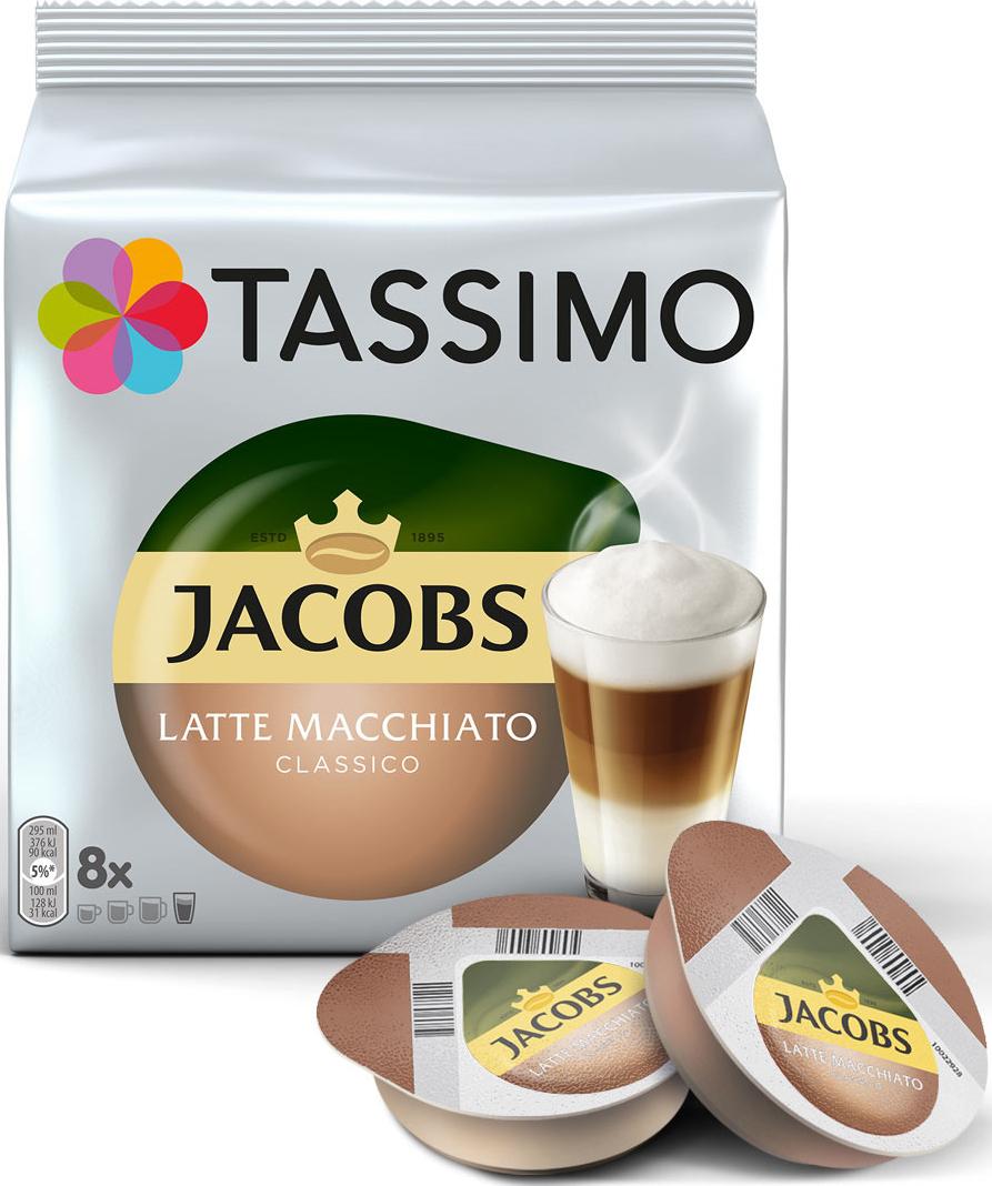 Кофе в капсулах Tassimo Jacobs Latte Macchiato Classico, c жидким молоком, 8 порций капсулы tassimo espresso classico