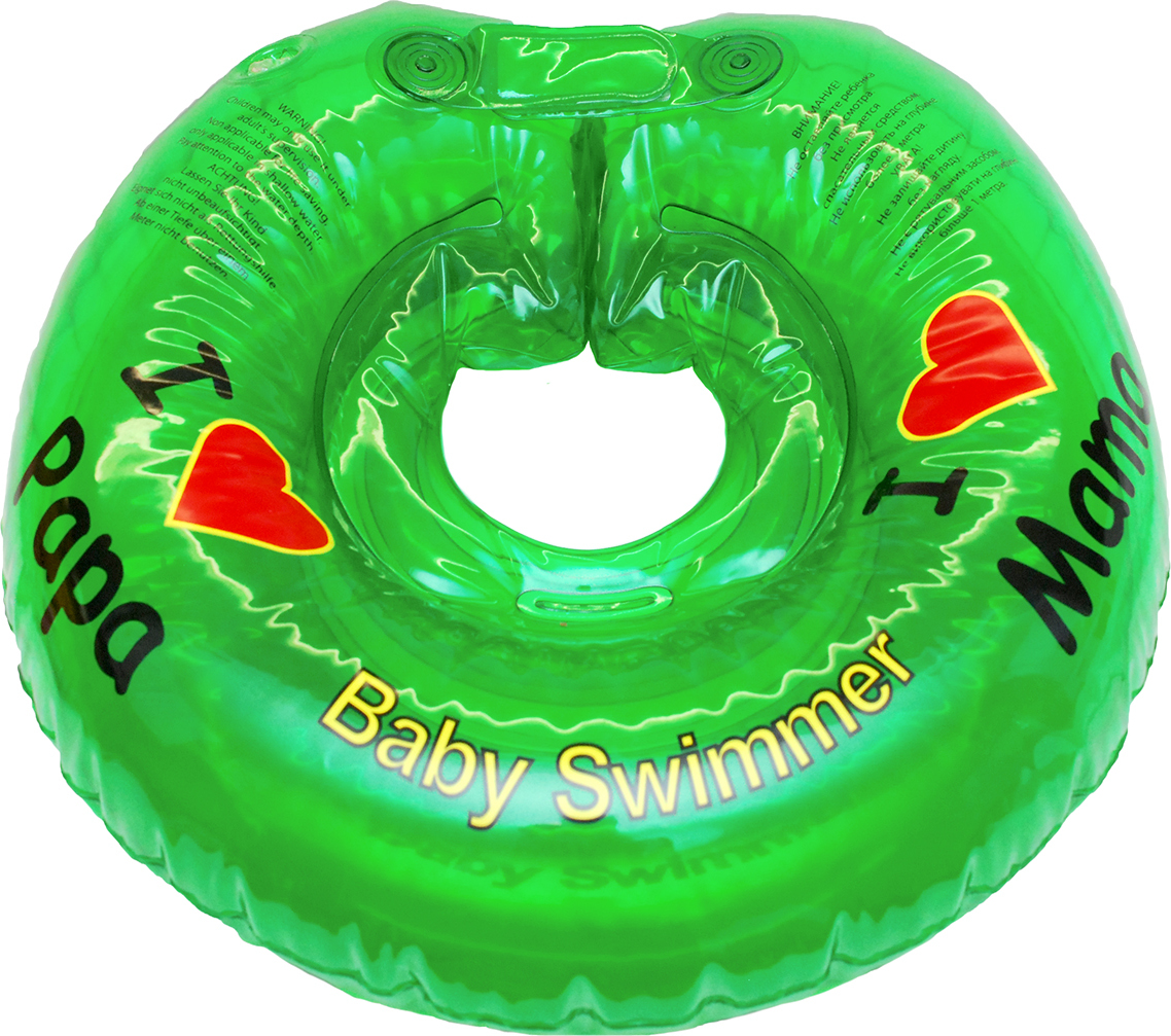 Круг на шею для купания малышей салатовый полноцветный, 6-36 кг, Baby Swimmer