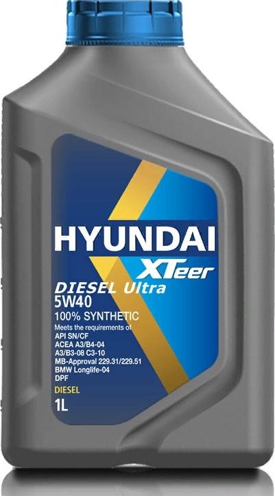 """Моторное масло HYUNDAI  XTeer """"Diesel Ultra 5W30"""", 1л, 100% синтетическое, дизельное, универсальное, API SN/CF"""