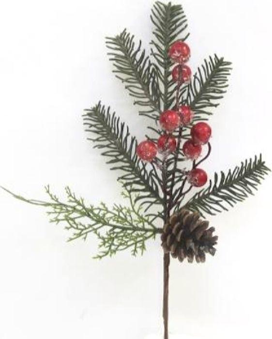 Ветка декоративная новогодняя, DN-51376, зеленый, красный, высота 34 см