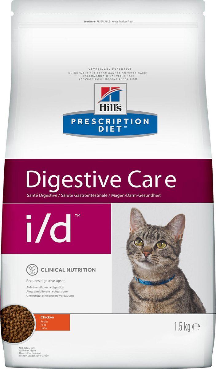 Корм сухой диетический Hill's Prescription Diet i/d Digestive Care для кошек при расстройствах пищеварения и ЖКТ, с курицей, 1,5 кг