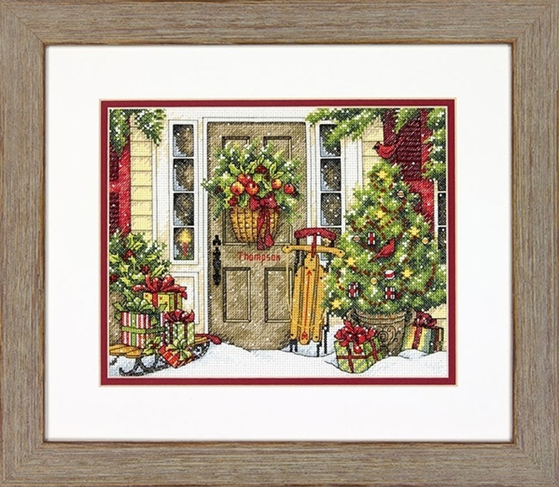 Набор для вышивания Dimensions Home for the Holidays  (Праздничный дом) 8961 25,4х20,3 см
