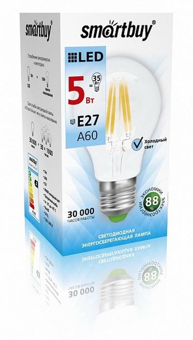 Лампочка SmartBuy SBL-A60F-5-40K-E27, Дневной свет 5 Вт, Светодиодная