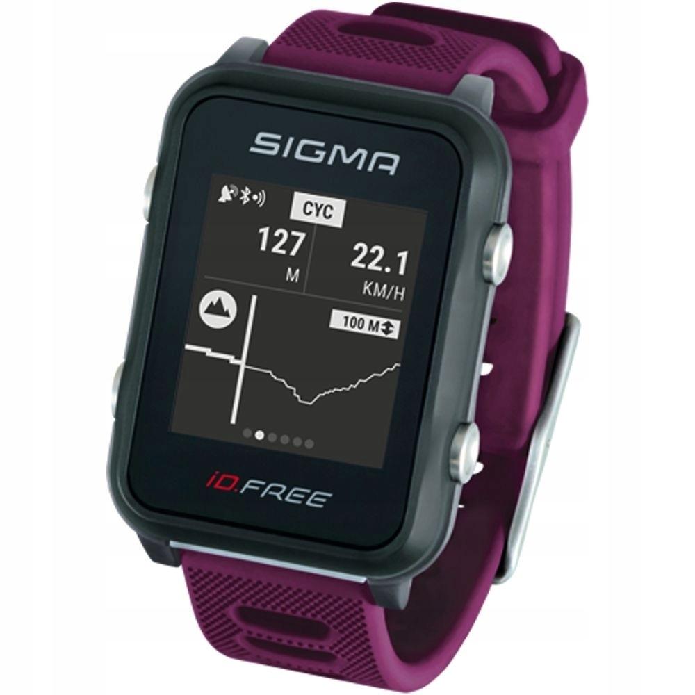 Мультиспортивные часы  SIGMA ID.FREE PLUM 24110, черн./фиол., часы c GPS, встроенный пульсомер, секундомер