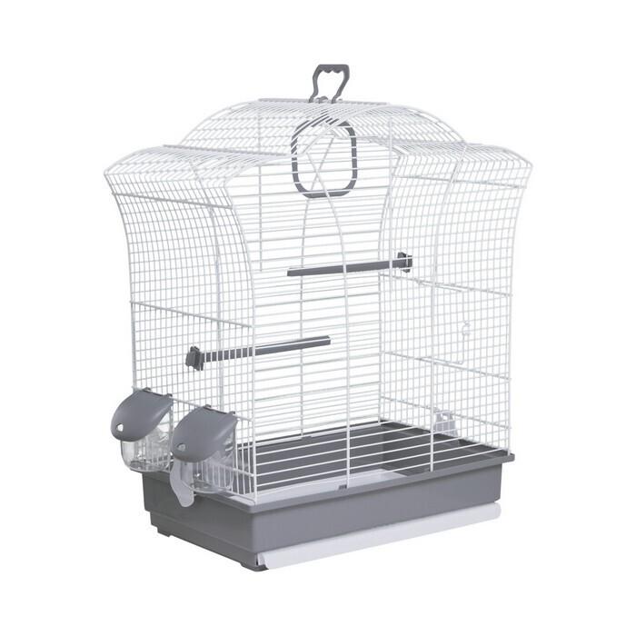 клетка для птиц voltrega (649), серо-белая, 44.5х25.5х51.5см