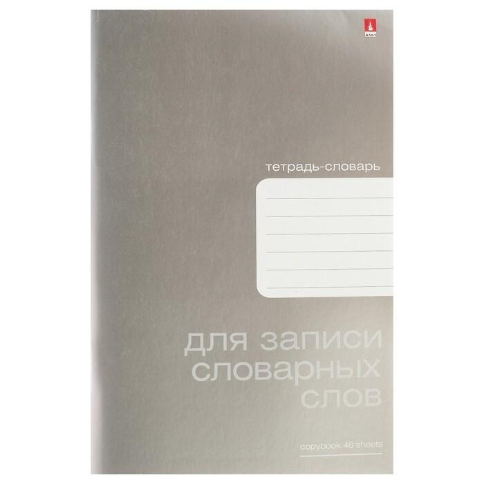 Тетрадь для записи словарных слов А6, 48 листов Platinum, обложка металлизированный картон