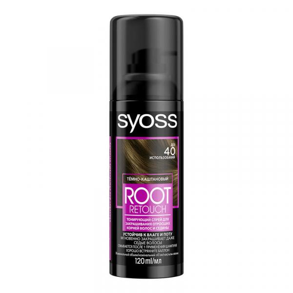 Syoss Спрей-краска Root Retoucher, Темно-каштановый, для закрашивания отросших корней и седины, 120 мл
