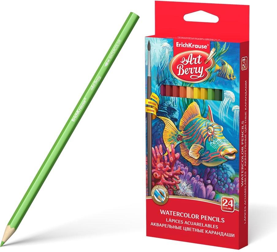 Акварельные карандаши ArtBerry, шестигранные, с кисточкой, 24 цвета  #1
