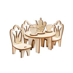 Мебель в кукольный домик IQ Format Столик со стульями для кукол 8-12 см. Домики и мебель для кукол
