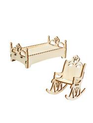 Мебель в кукольный домик IQ Format Кресло-качалка и кроватка для кукол 8-12 см. Домики и мебель для кукол