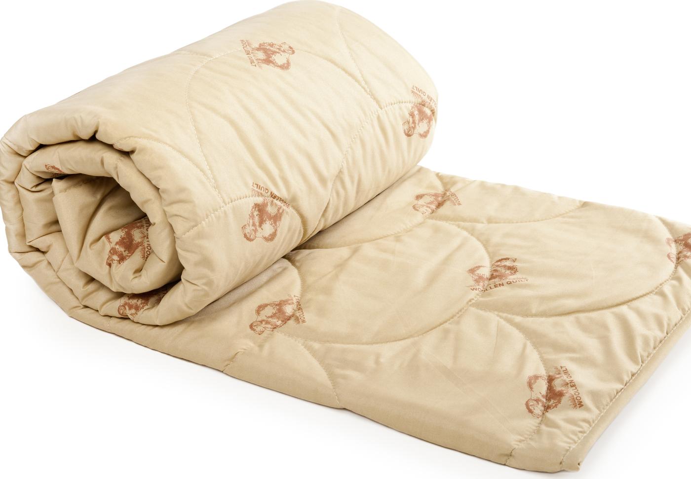 Одеяло ТК Традиция овечья шерсть 300 г 140х205 см, полиэстер, 1,5 сп.