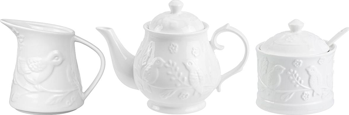 Набор 3 предмета - чайник 430 мл, сахарница 270 мл, кувшин для молока 300 мл Elan Gallery Птички на ветке