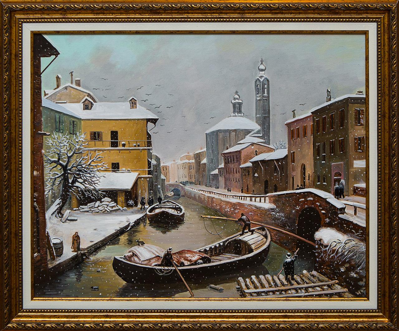 Картина маслом Барка под снегом Воробьёв картина маслом гуляки воробьёв