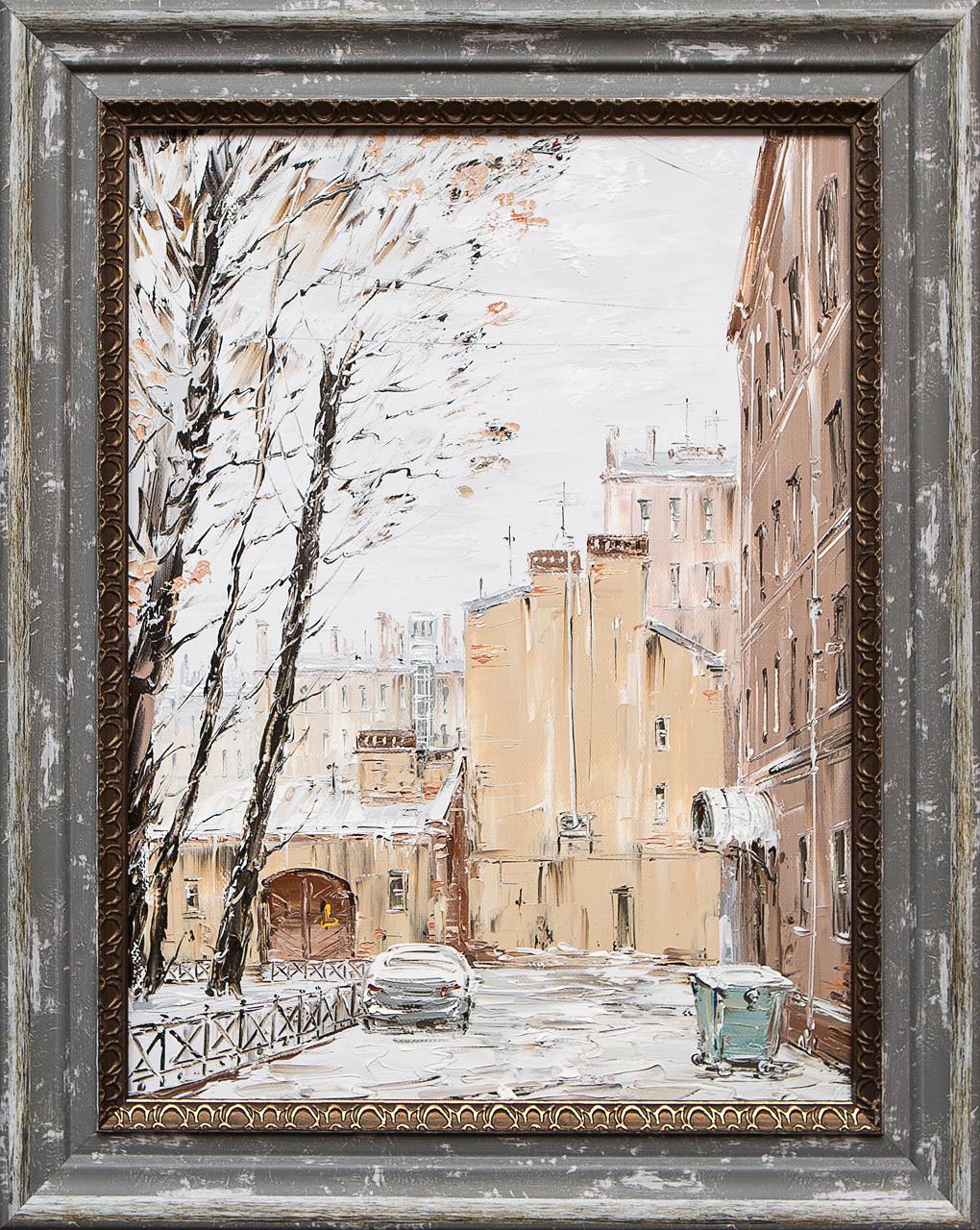 Картина маслом Питерский двор.Зима Стеняев