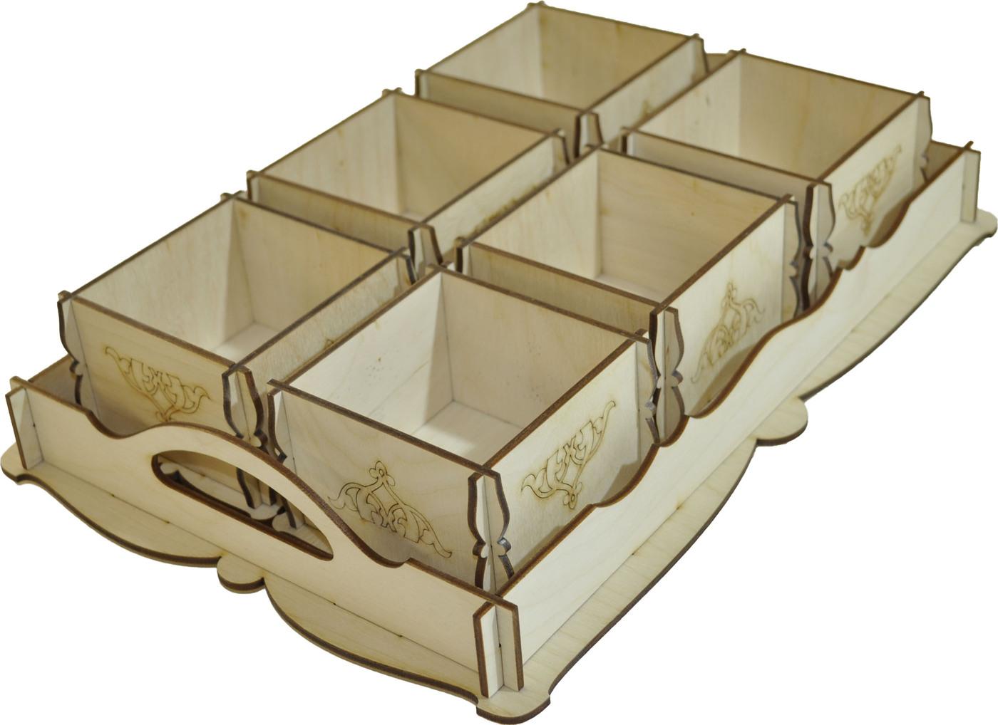 Деревянный поднос с 6-ю коробочками