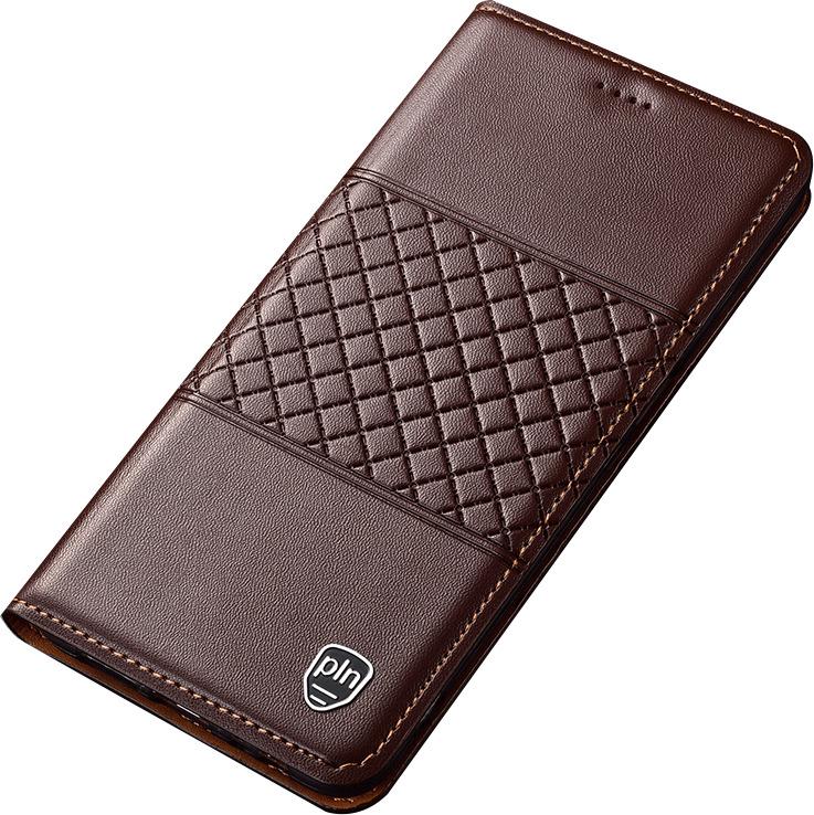 Чехол-книжка MyPads для Huawei Honor 10i / Enjoy 9S / P Smart Plus 2019  из натуральной кожи буйвола с элегантной стеганой прошивкой премиум-класса и магнитной крышкой коричневый