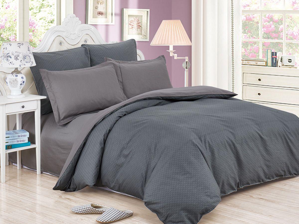 Комплект постельного белья Cleo Satin de' Luxe Домиан, 20/520-SK, темно-серый, 2-спальный, наволочки 70x70