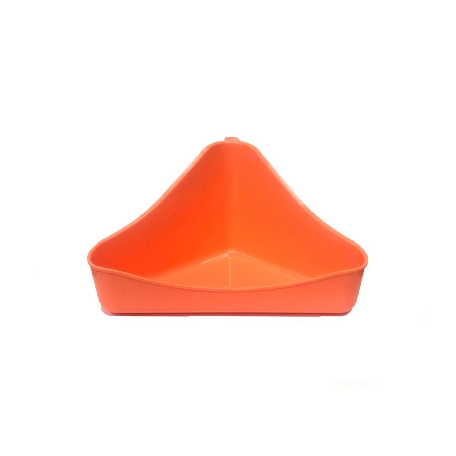 туалет для хомяка, грызунов угловой (16х10х9 см, оранжево-коралловый)
