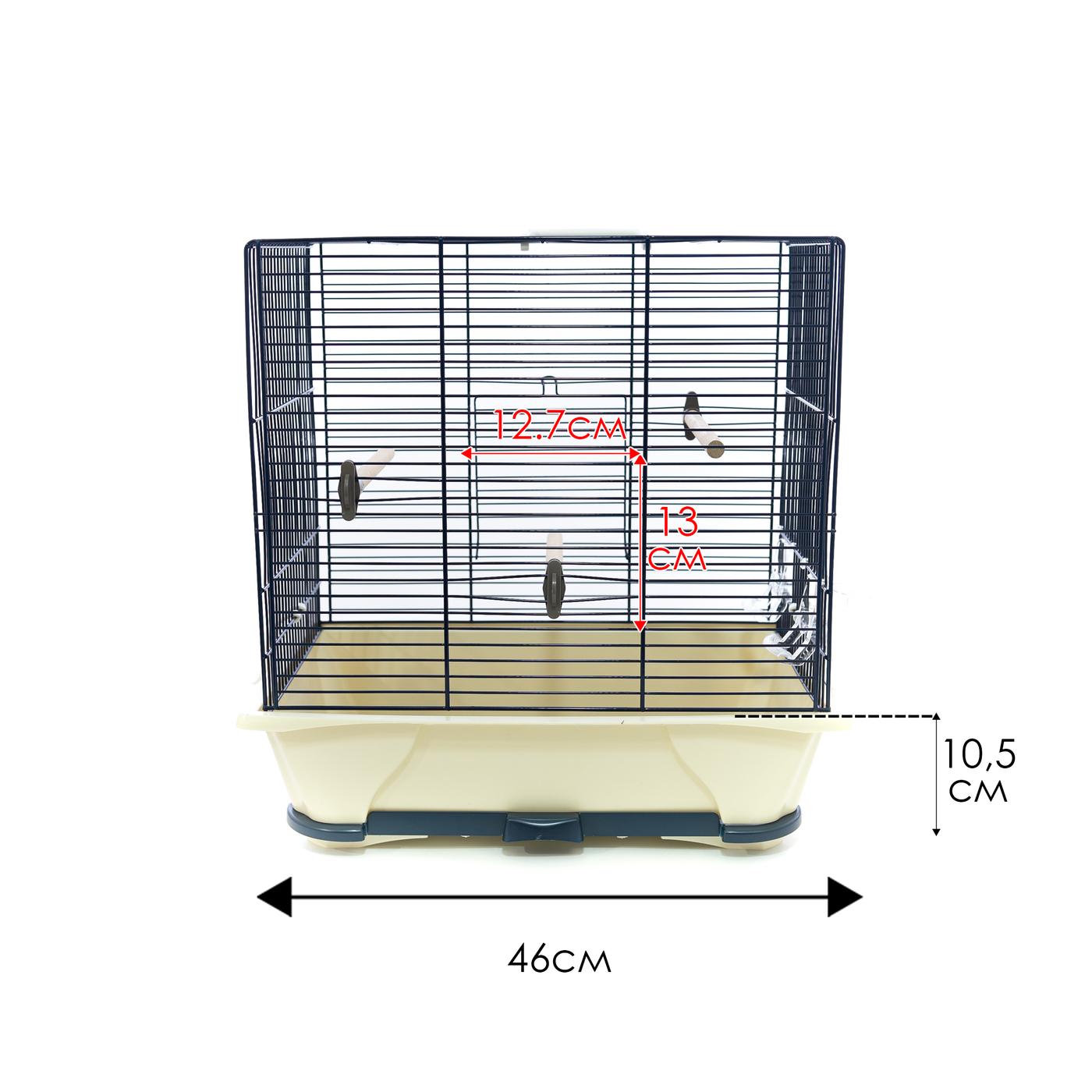 клетка для птиц savic primo 40, с комплектацией, 5538-5901, синий, 46 х 32 х 48 см