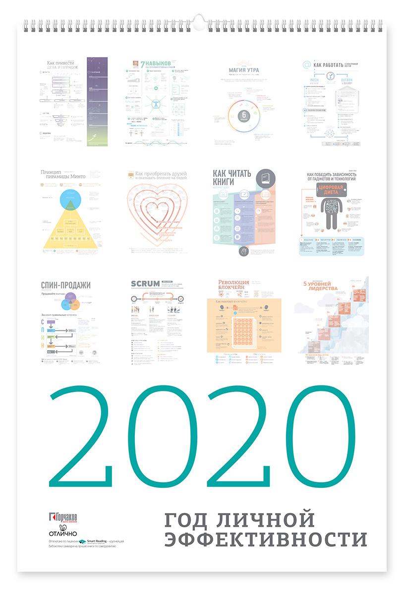 """Календарь с инфографикой """"Год личной эффективности"""" 2021/2020  #1"""