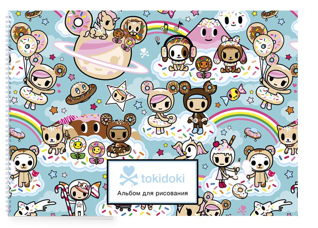 (2018)Вселенная tokidoki. Пончики. Альбом для рисования (бирюзовый) (формат А4, офсет 160 гр., 50 страниц, #1