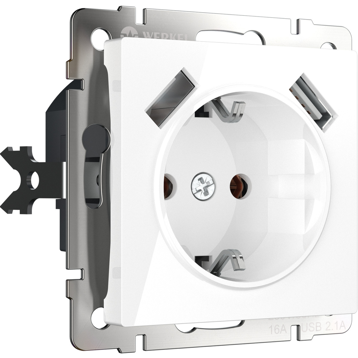Розетка с заземлением, шторками и USBх2 (белая) Werkel WL01-SKGS-USBx2-IP20  #1