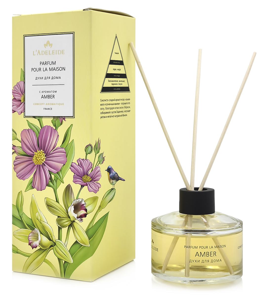 """L'Adeleide Ароматическая жидкость """"Parfum pour la maison""""с ароматом AMBER  #1"""