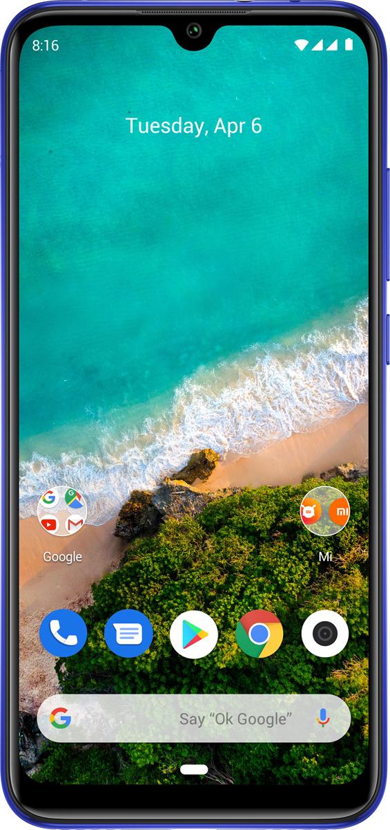 Смартфон Xiaomi Mi A3 4/128GB, синий аккумулятор activ mi a3 10400mah silver 57059
