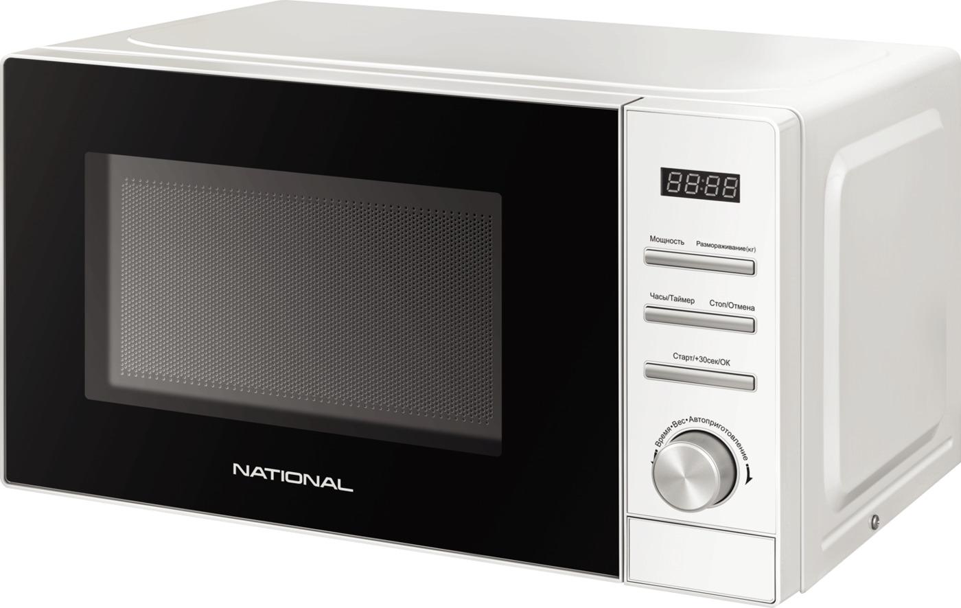 Микроволновая печь NATIONAL 20 л, 700 Вт, с электронным управлением и отложенным стартом