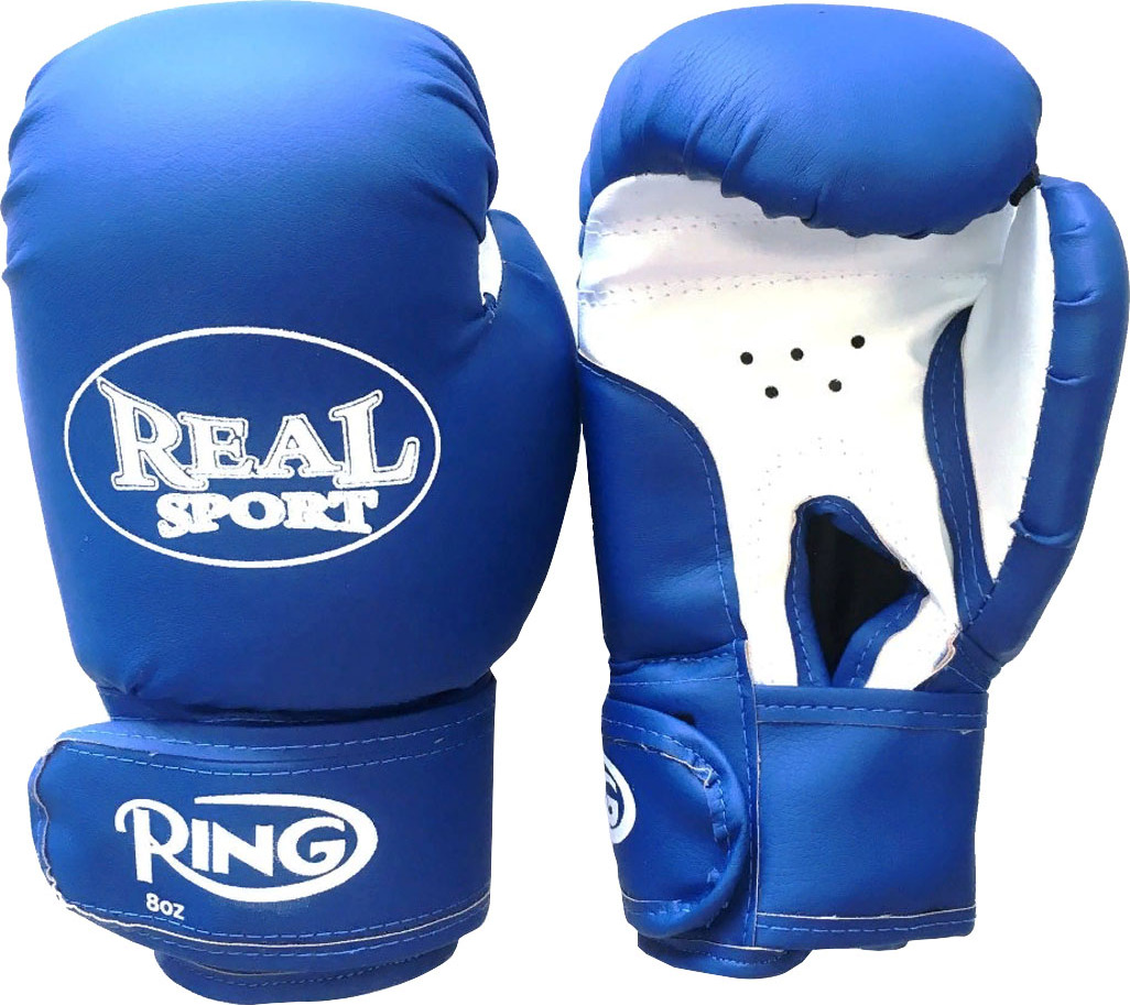Перчатки боксерские REALSPORT 12 унций, синий перчатки боксерские adidas response сине белые 10 унций adibt01