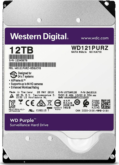 Фото - Жесткий диск 12Tb SATA-III Western Digital Purple, WD121PURZ жесткий диск 10tb western digital wd purple wd101purz