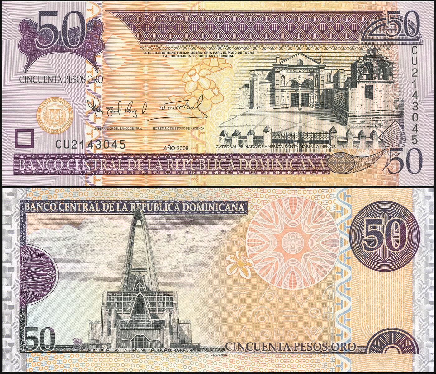 Банкнота. Доминиканская республика 50 песо оро. 2008 UNC. Кат.P.176b