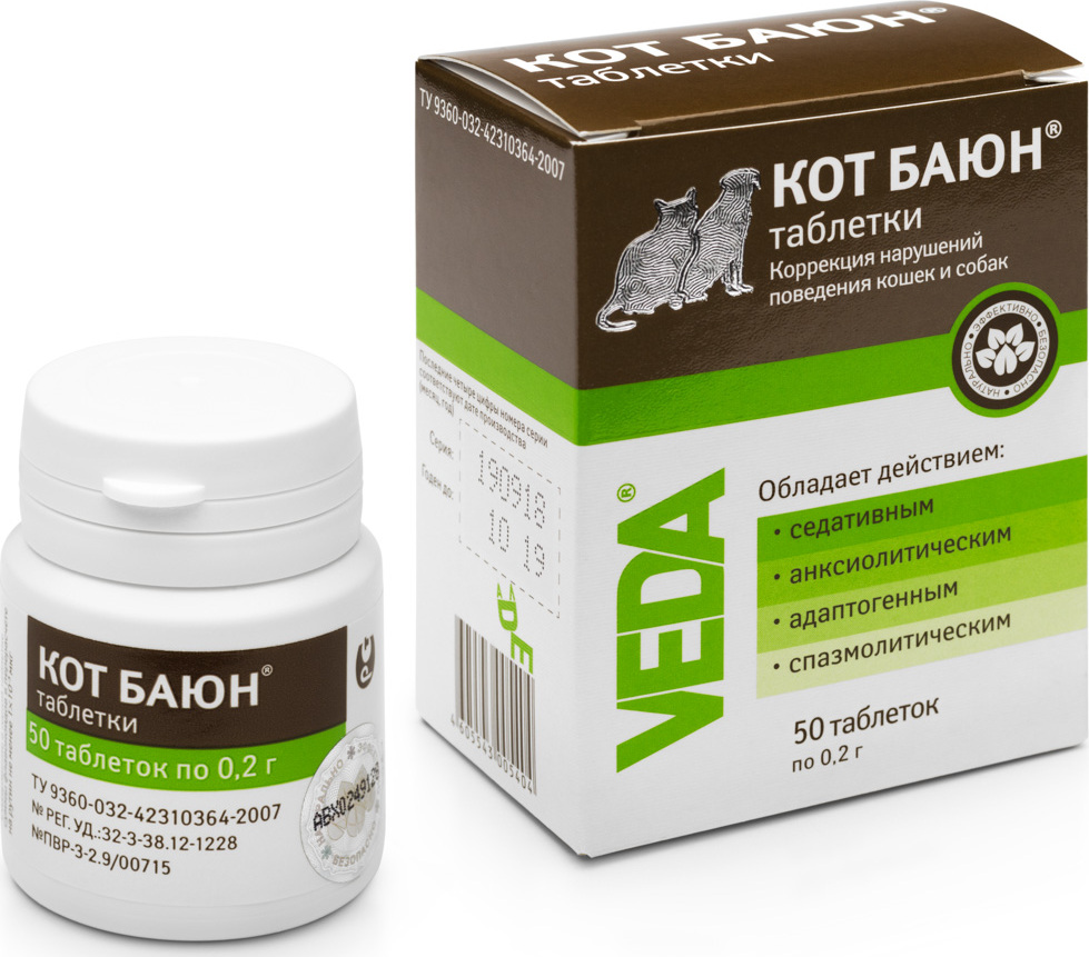 Таблетки для кошек и собак Кот Баюн, 50х0,2 г