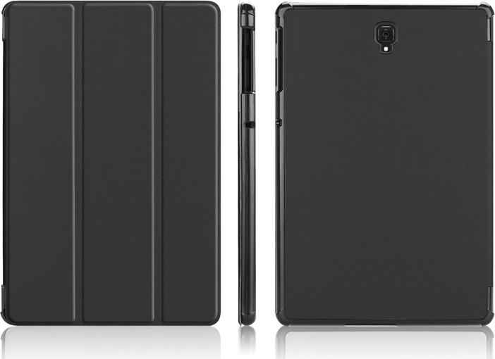 Чехол-обложка MyPads для Samsung Galaxy Tab S4 10.5 SM-T830/T835 тонкий умный кожаный на пластиковой основе с трансформацией в подставку черный