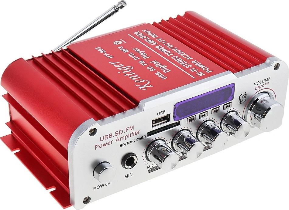 Kentiger HY803 Hi-Fi Стерео усилитель, Red hy 502 hi fi цифровой автомобильный стерео усилитель мощности led звуковой режим аудио музыкальный плеер поддержка usb mp3 dvd sd fm