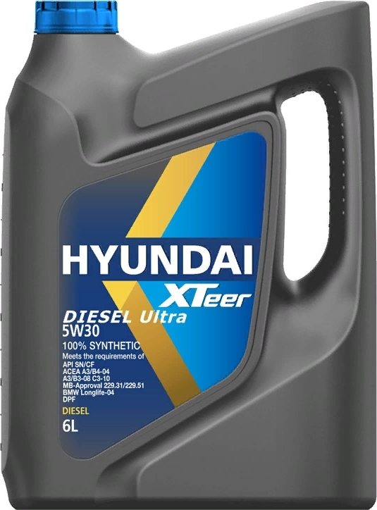 """Моторное масло HYUNDAI  XTeer """"Diesel Ultra 5W30"""", 6л., 100% синтетическое, дизельное, универсальное, API SN/CF"""