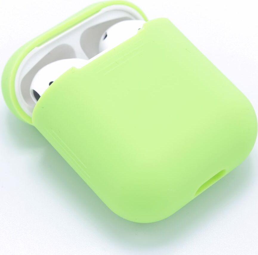 Чехол для Apple AirPods ультратонкий силикон, бархатный салатовый