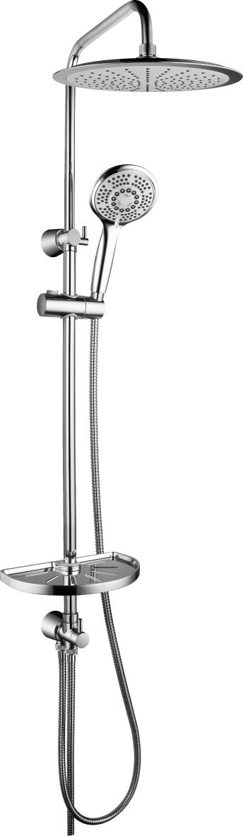 """Душевой гарнитур Lemark LM8802C с регулируемой высотой штанги и верхней душевой лейкой """"Тропический дождь"""""""