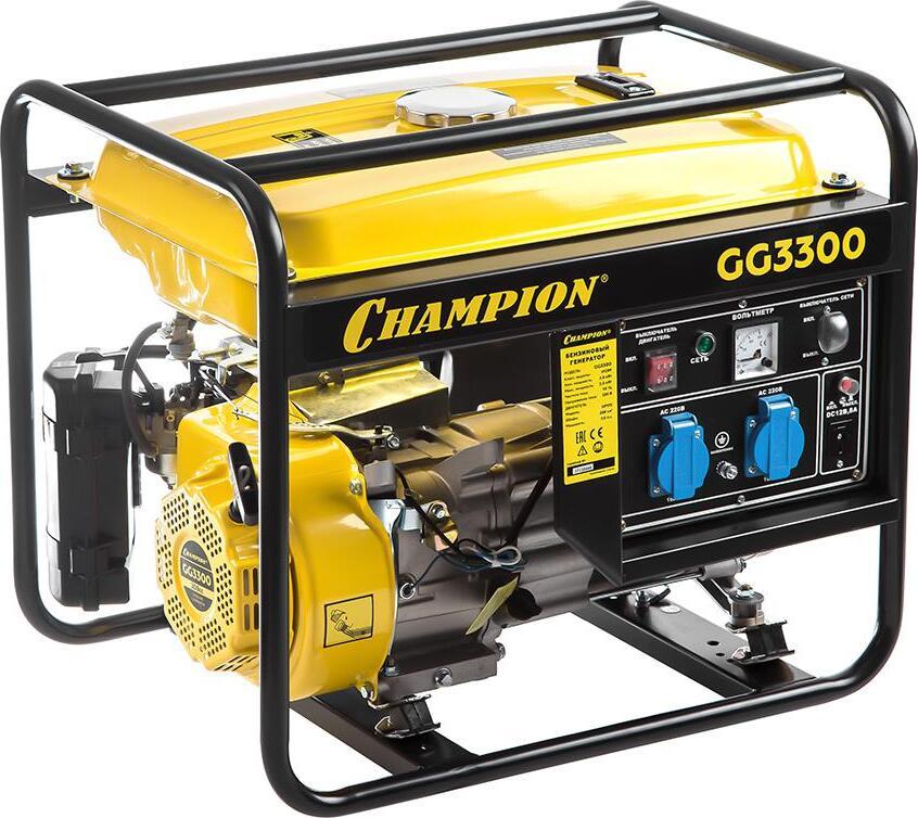 Генератор CHAMPION GG3300 (2,6/3Квт OHV 7лс 15л 45,2кг 1,4л/ч 12V)