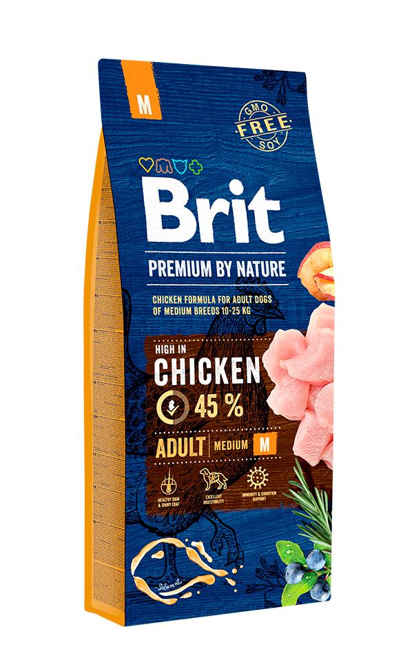 Корм для взрослых собак средних пород, Brit Premium by Nature Adult M, 15 кг.